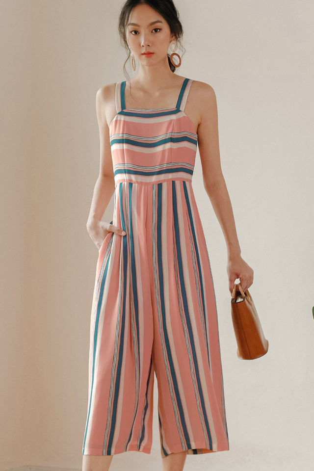 NEIL STRIPED JUMPSUIT IN PINK