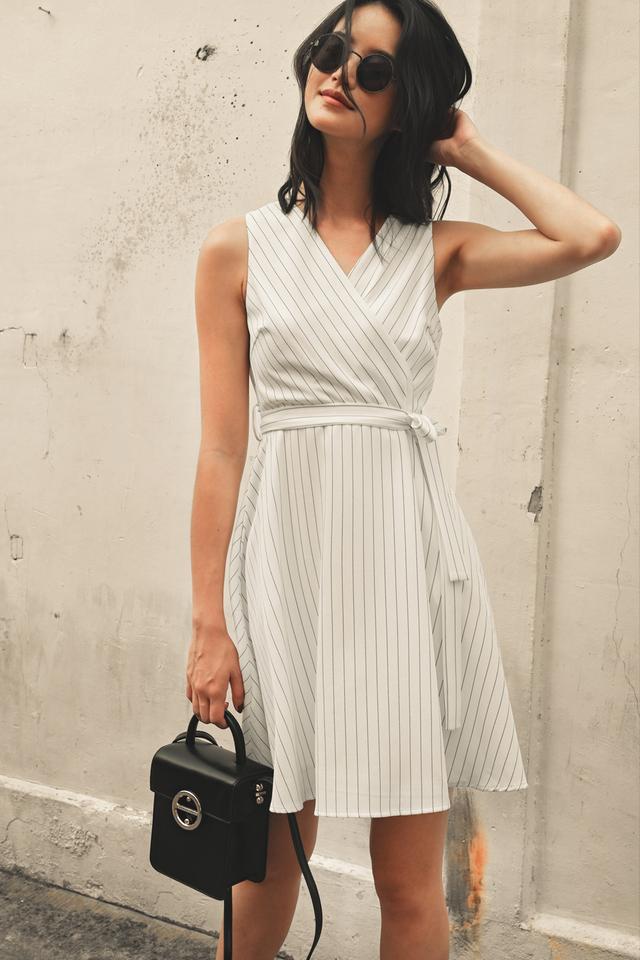 SHELDON STRIPE DRESS IN WHITE