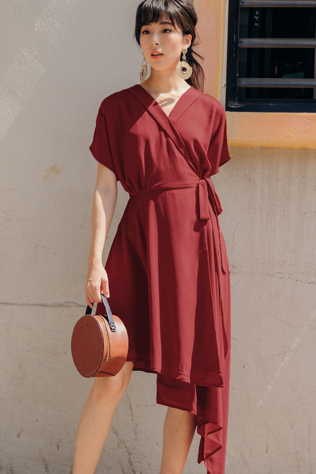 EMMY WRAP DRESS IN ROSE RED