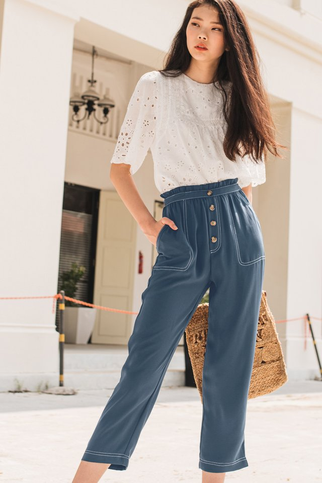 MAEVE TOPSTITCH TROUSERS IN BLUE
