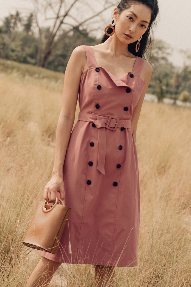 VANIA BUTTON MIDI IN PINK