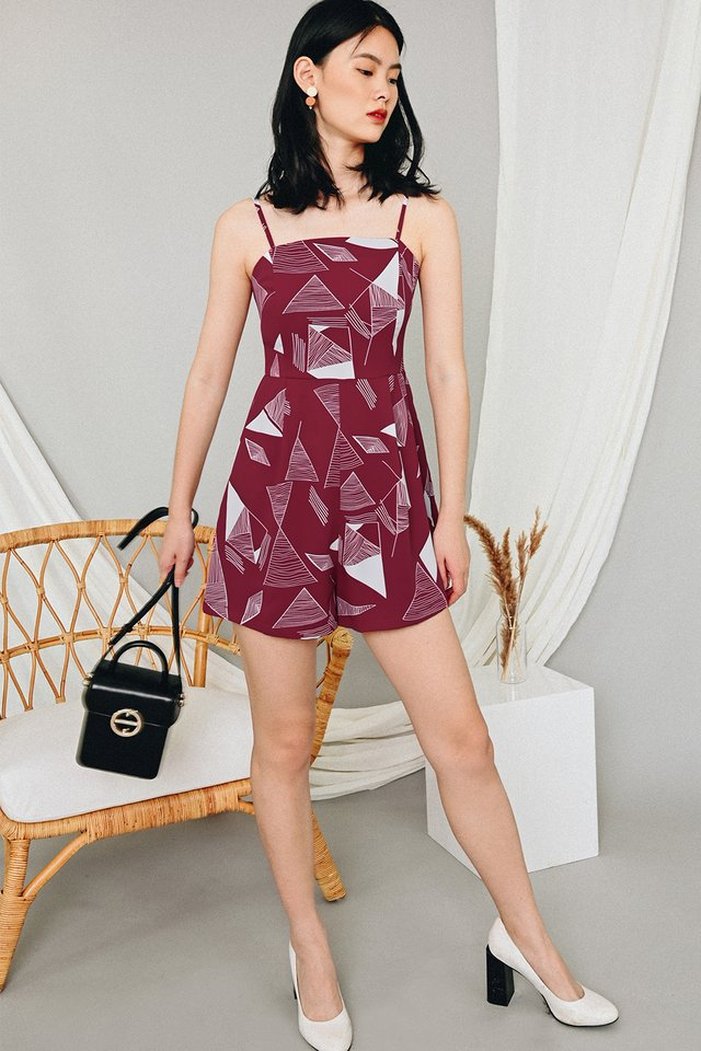 FICO PLAYSUIT IN WINE RED
