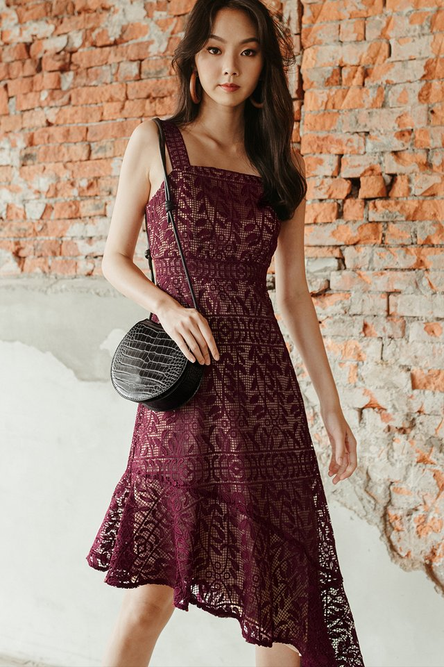 NARELLE CROCHET MIDI IN WINE