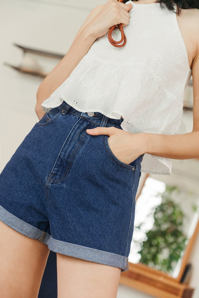 *RESTOCKED* KAYDEN DENIM SHORTS IN DARK WASH