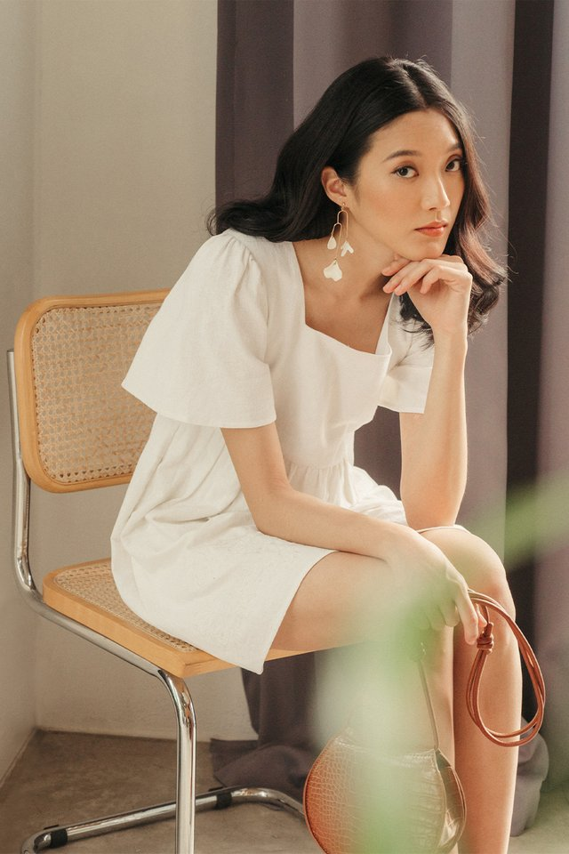*BACKORDER* NILO EMBROIDERY PLAYSUIT DRESS IN WHITE