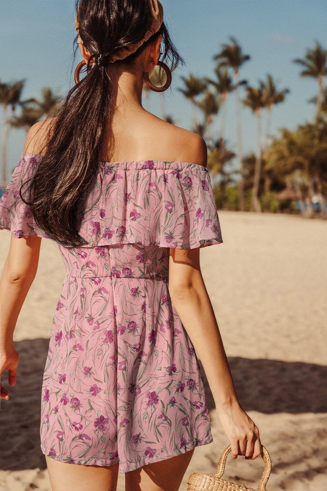 WINONA OFF SHOULDER PLAYSUIT IN BERRY