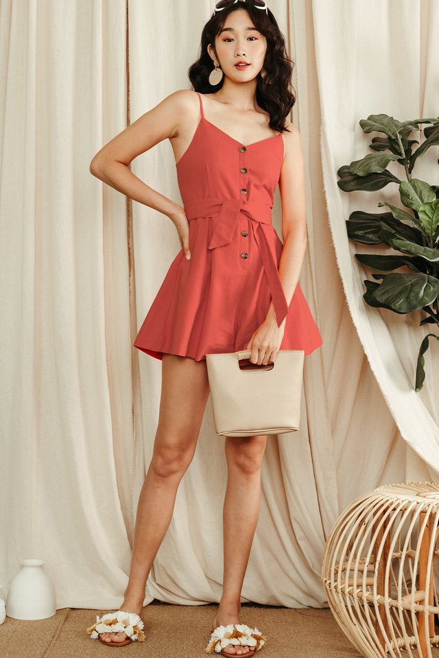 NATALIE BUTTON PLAYSUIT IN CORAL