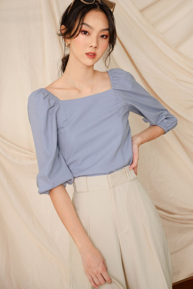 ISSA LINEN TOP IN ASH BLUE