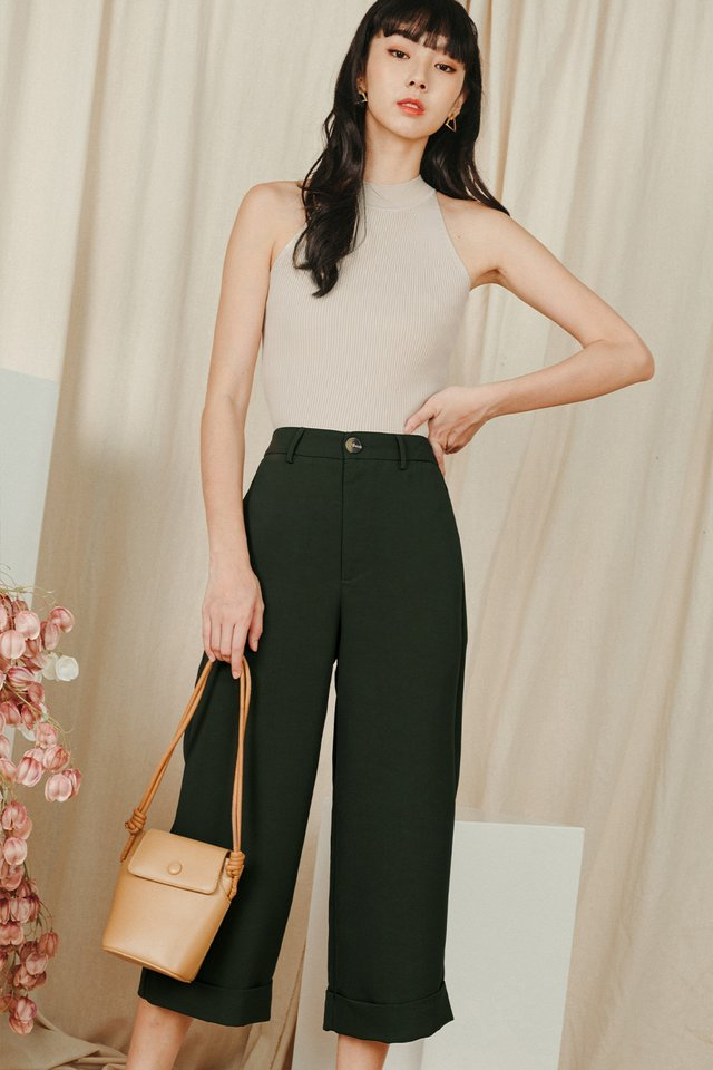 *BACKORDER* KYNA CUFFED CULOTTES IN DEEP OLIVE