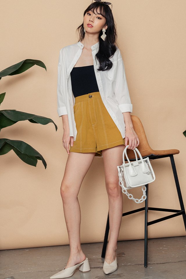 ISSEY CONTRAST STITCH SHORTS IN MUSTARD