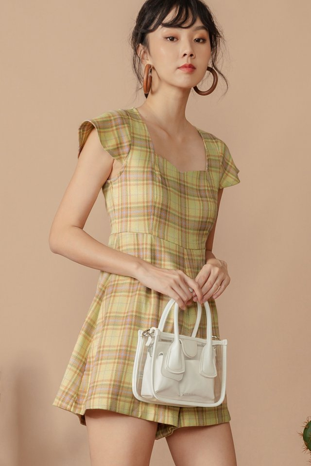 JULIA CHECKED PLAYSUIT IN HONEYSUCKLE YELLOW