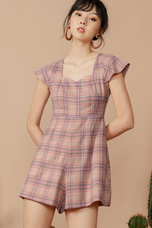 JULIA CHECKED PLAYSUIT IN PINK