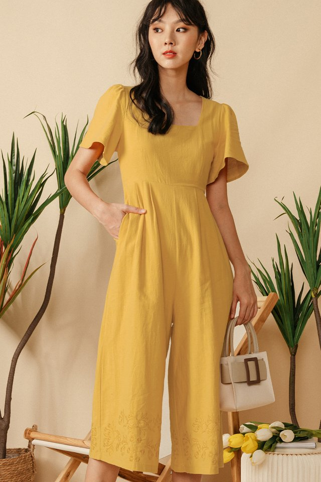 NILO EMBROIDERY JUMPSUIT IN MUSTARD