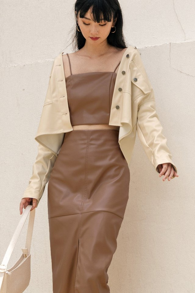 BREA LEATHER TOP IN CAMEL