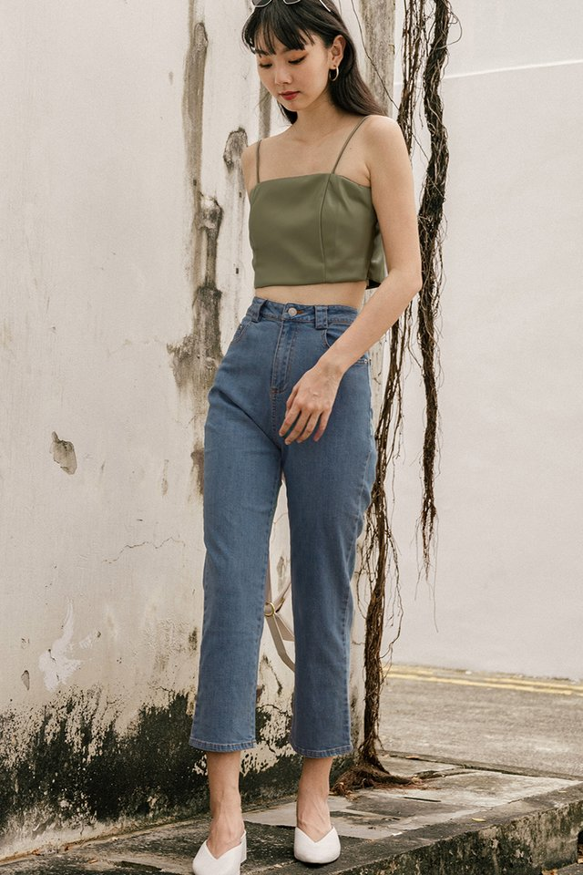 BREA LEATHER TOP IN SAGE