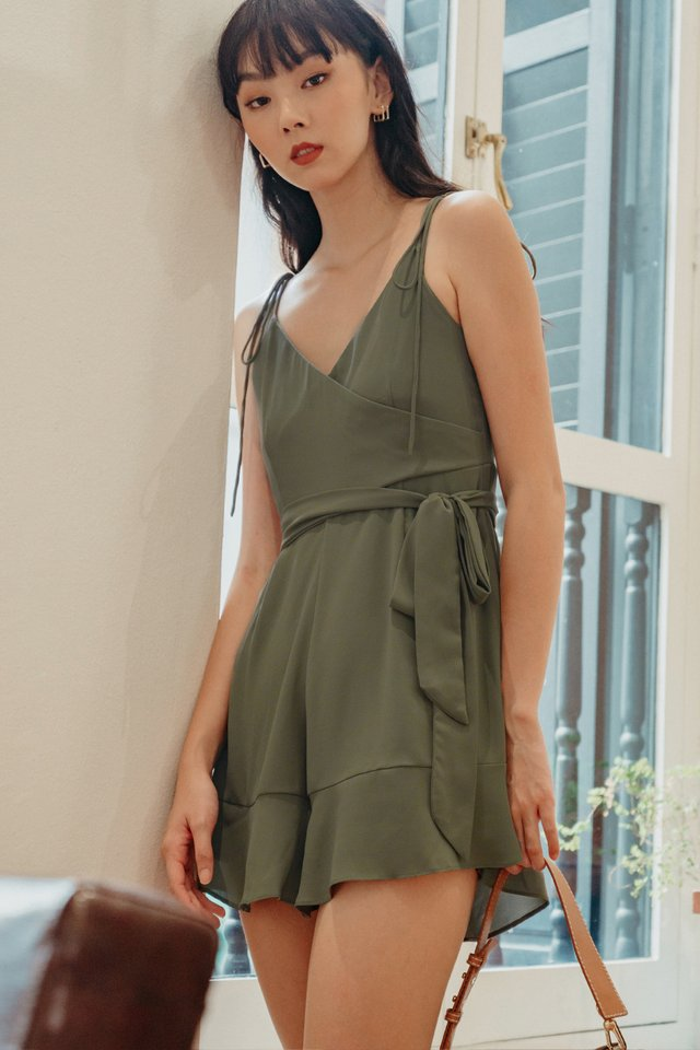 CARY PLAYSUIT IN DUSK OLIVE