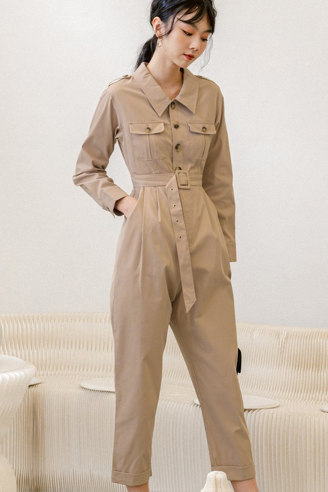 BENTLEY UTILITY JUMPSUIT IN KHAKI BEIGE