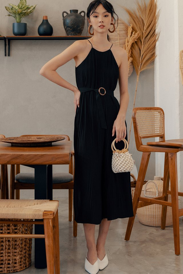 *RESTOCKED* COLETTE PLEAT JUMPSUIT IN BLACK