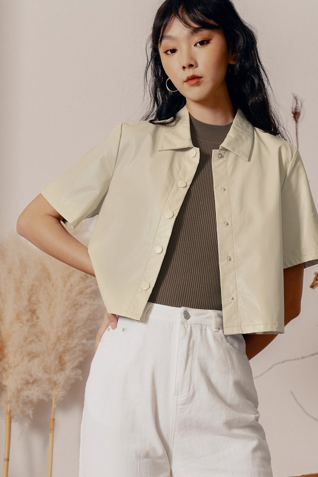 LEATHER BOXY TOP IN KHAKI BEIGE