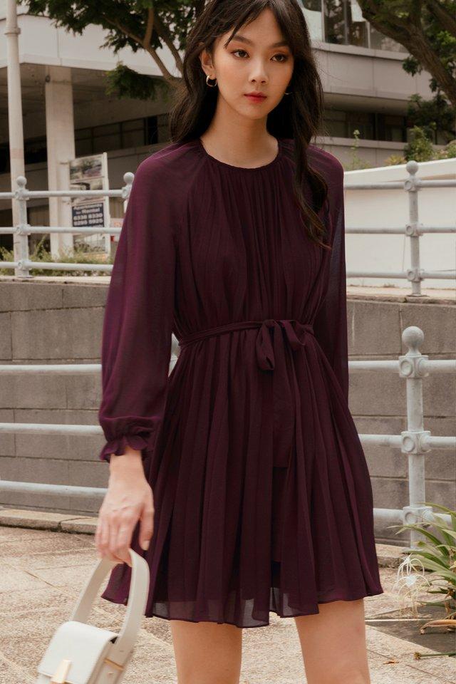 LUCA PLEAT DRESS IN OXBLOOD