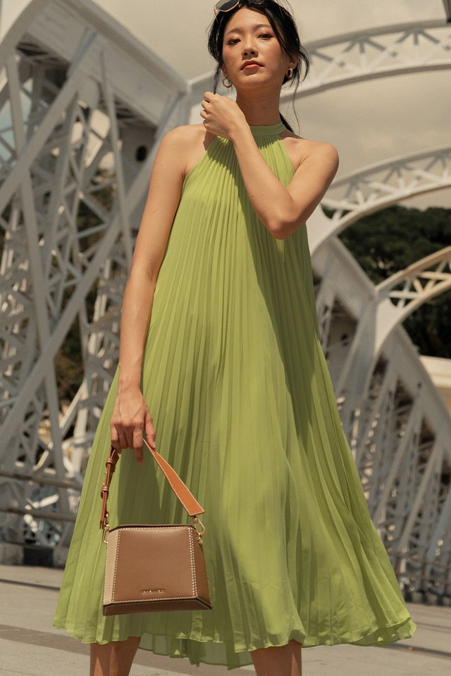 NATHAN PLEAT MIDI IN LIME