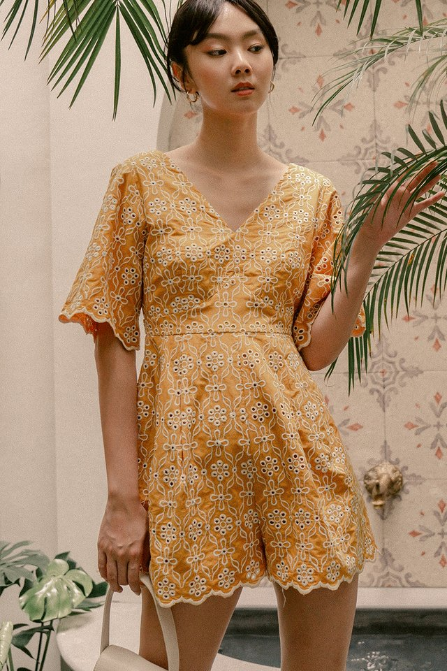 ATHENS EYELET PLAYSUIT IN MUSTARD