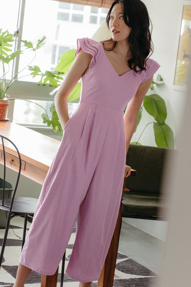GAIL RUFFLE JUMPSUIT IN LILAC PINK