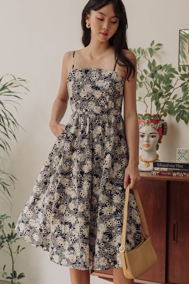 HOMER EMBROIDERY MIDI IN NAVY