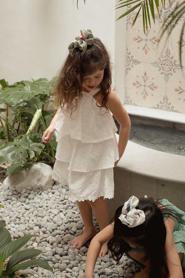 *KIDS* MAEKO EYELET DRESS IN WHITE