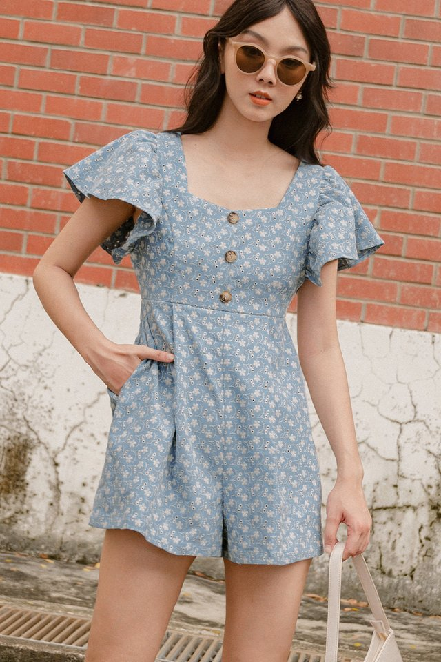 *RESTOCKED* RENEE EMBROIDERY PLAYSUIT IN ASH BLUE