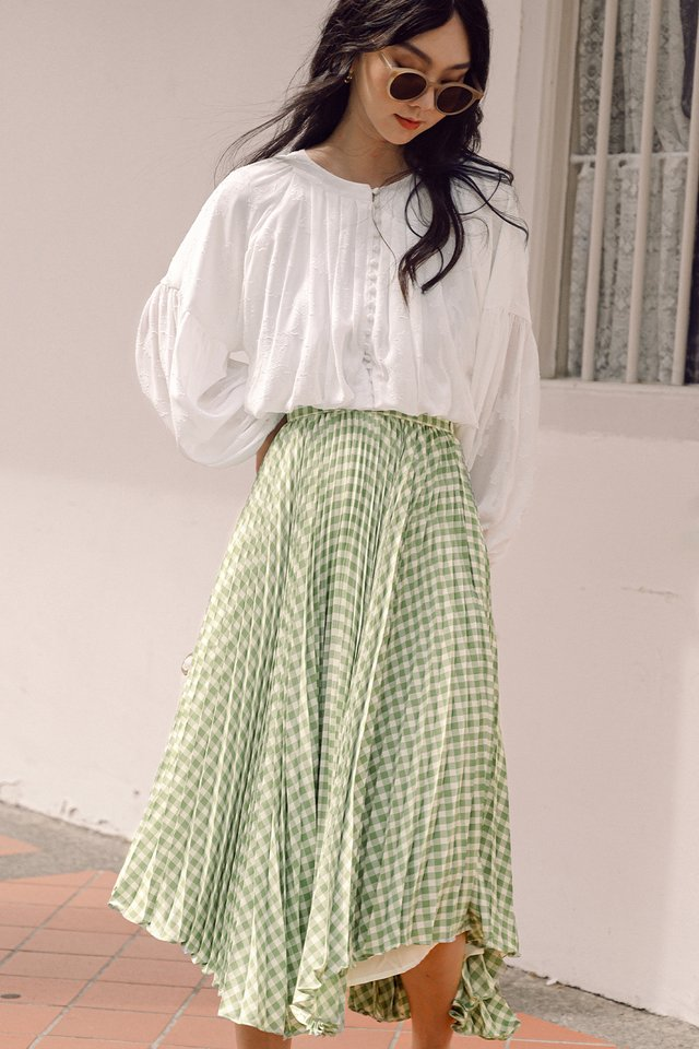 ZIGGY PLEAT MIDI IN PISTACHIO
