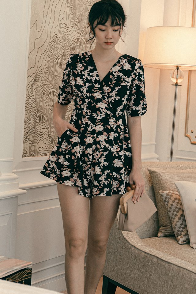 CALEY PLAYSUIT IN BLACK