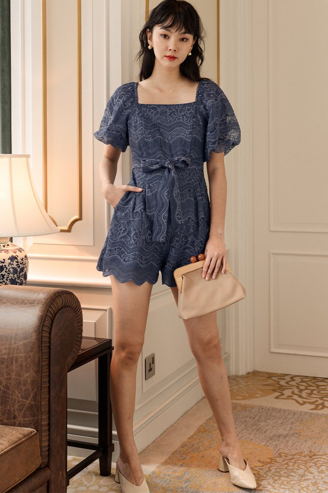 EMBER EMBROIDERY PLAYSUIT IN DUSK PERIWINKLE