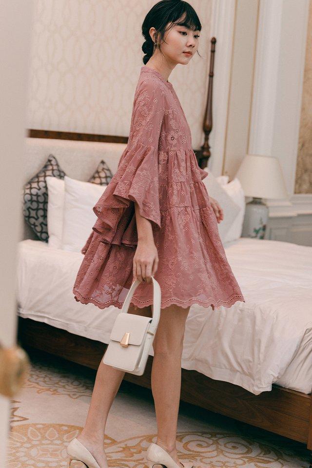HARPER EMBROIDERY BABYDOLL DRESS IN DUSK ROSE