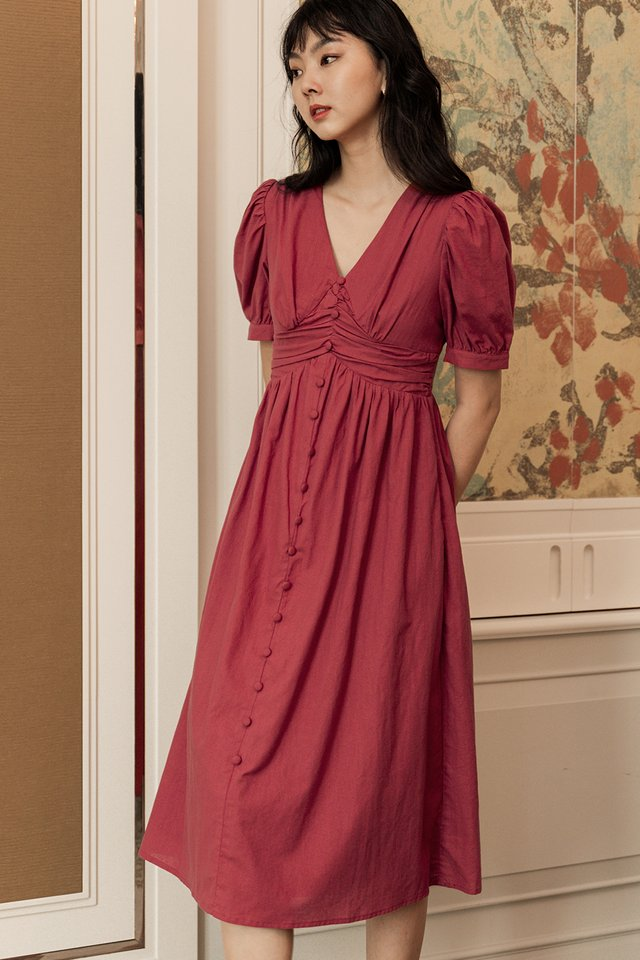 LEAH LINEN MIDI IN ROSE RED