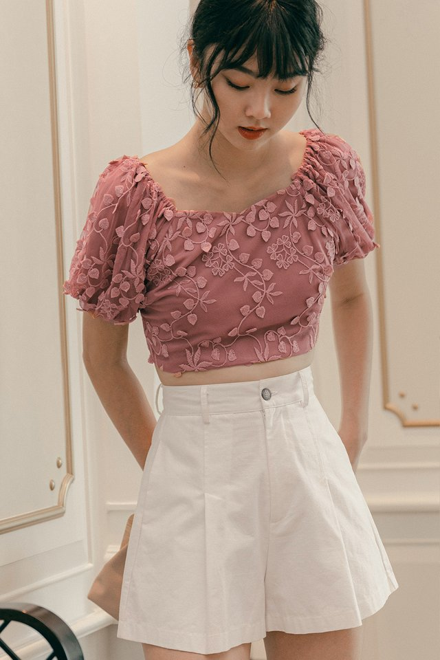 OPHELIA PUFF SLEEVE TOP IN DUSK ROSE