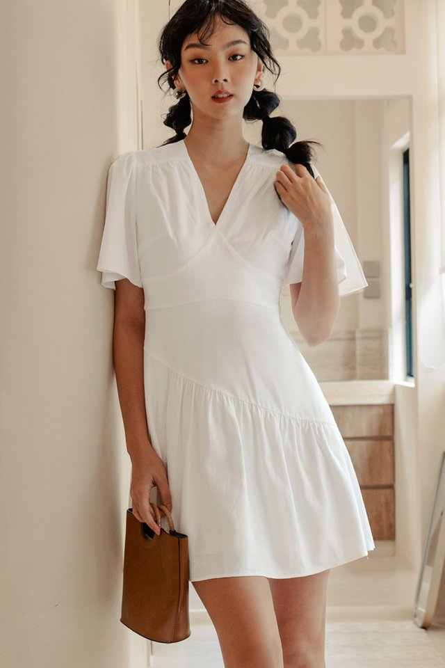 *BACKORDER* BURKE LINEN DRESS IN WHITE