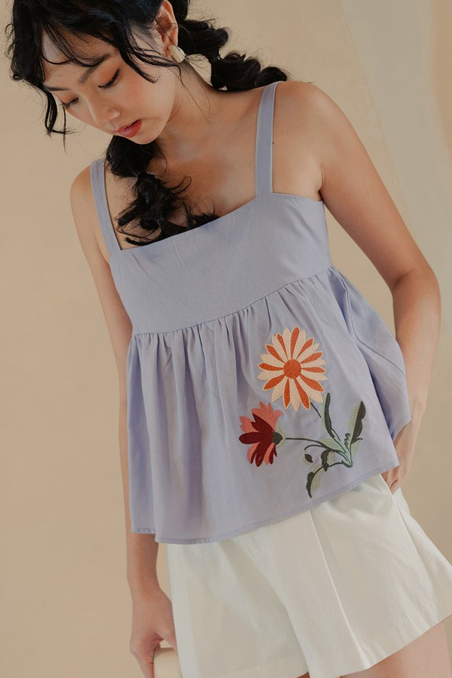 RAIDEN EMBROIDERY BABYDOLL TOP IN PERIWINKLE