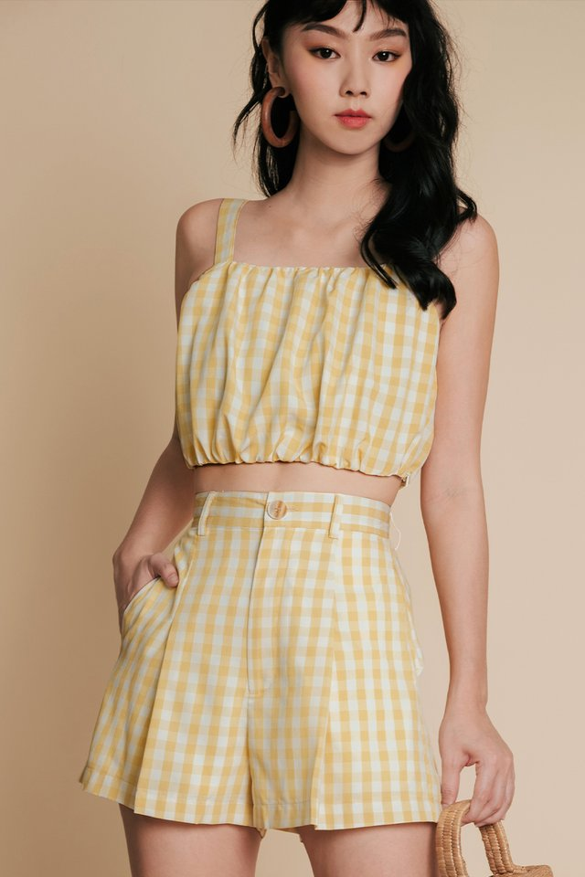 LORNA GINGHAM SHORTS IN MELLOW YELLOW