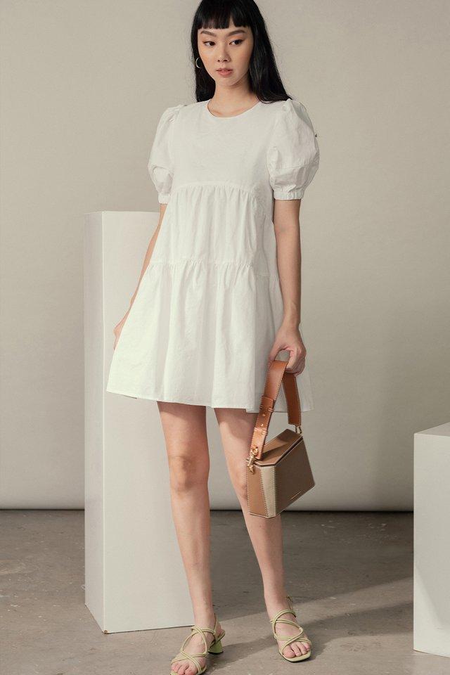 *RESTOCKED* SADIE BABYDOLL PLAYSUIT DRESS IN WHITE