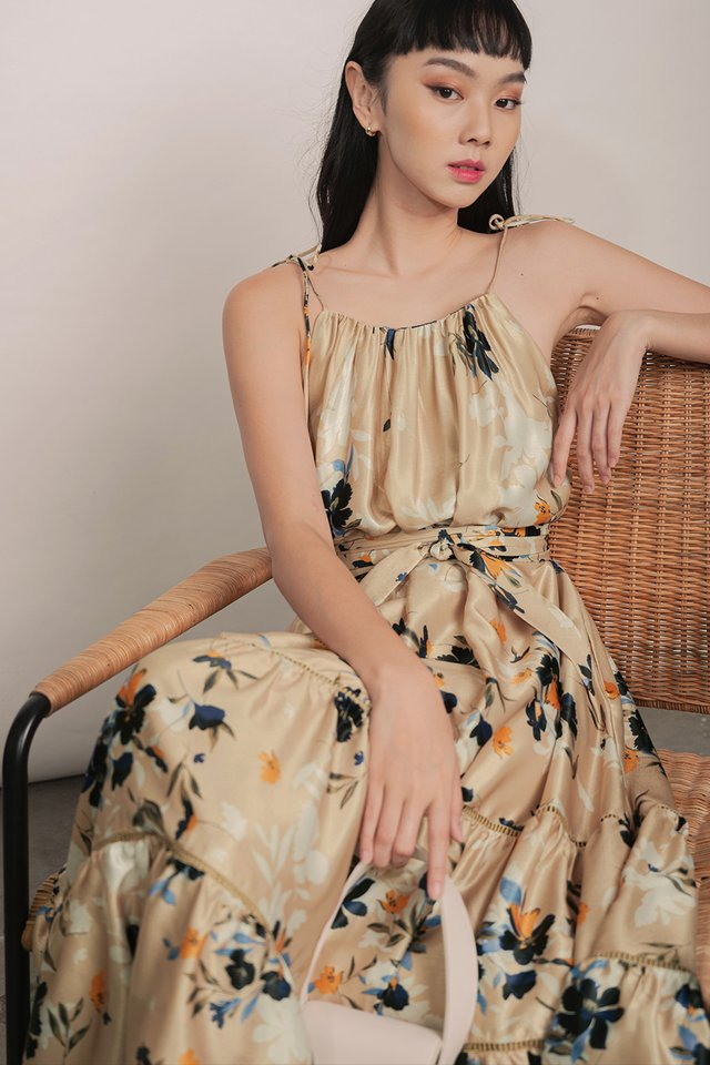 SANDFORD FLORAL TIE MAXI IN SAND