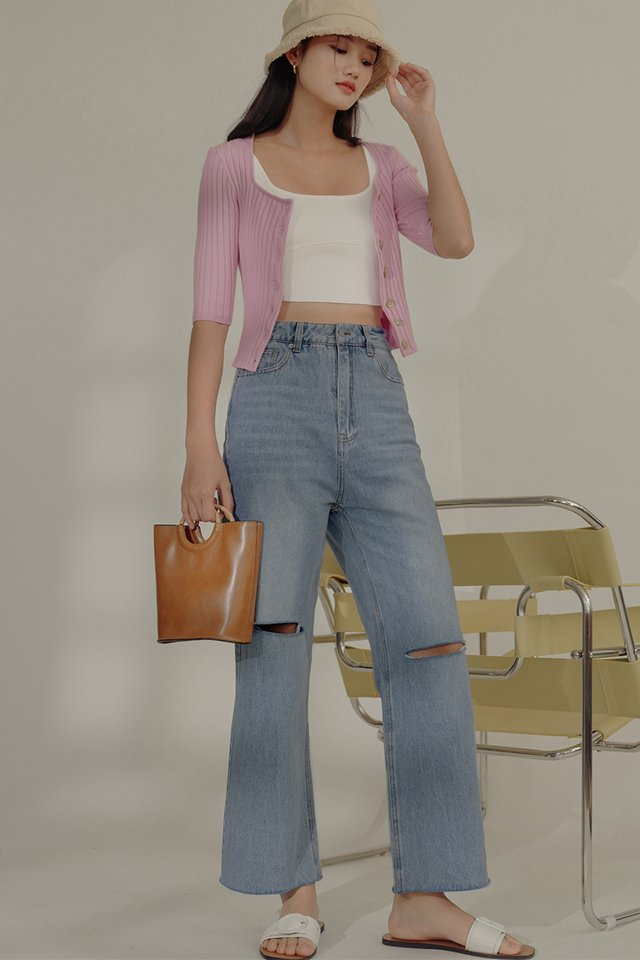 BARY SLIT JEANS IN LIGHT WASH