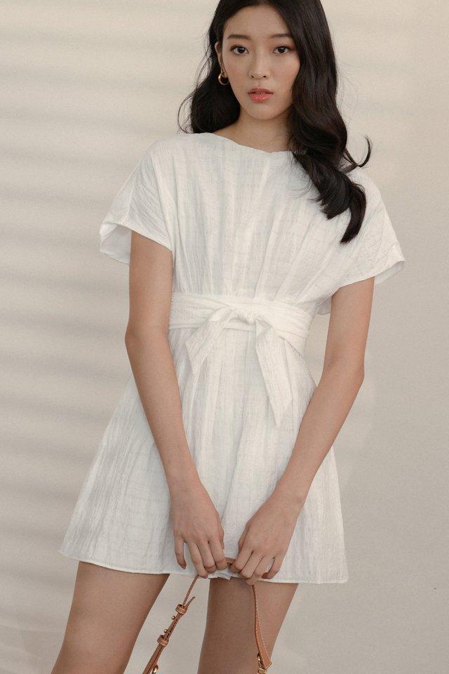 LENNON SASH PLAYSUIT IN WHITE