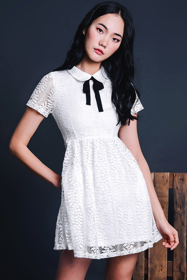 ASTER LACE DRESS IN WHITE