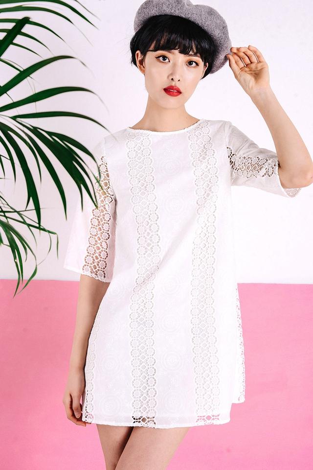 ANTOINETTE CROCHET DRESS IN WHITE