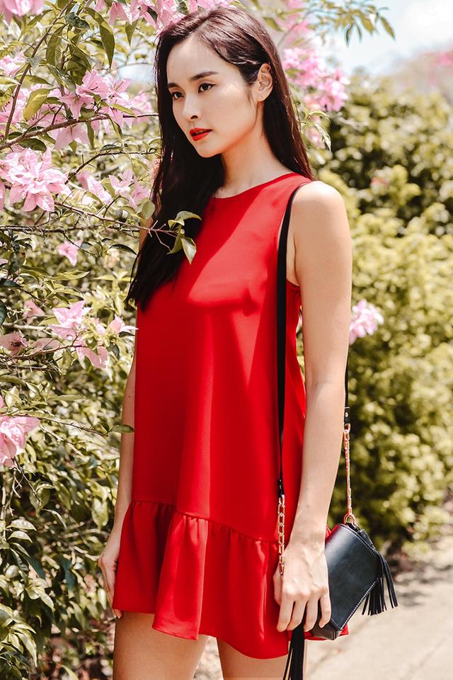 IRIS DROPWAIST DRESS IN RED