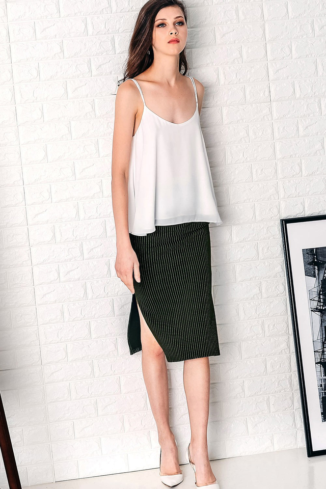 SIDNEY STRIPED SKIRT IN MILITARY