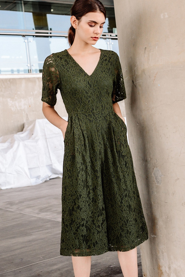 MARSEILLE LACE JUMPSUIT IN OLIVE