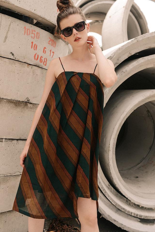 RUBEN ASYMMETRICAL DRESS IN MOSS BROWN