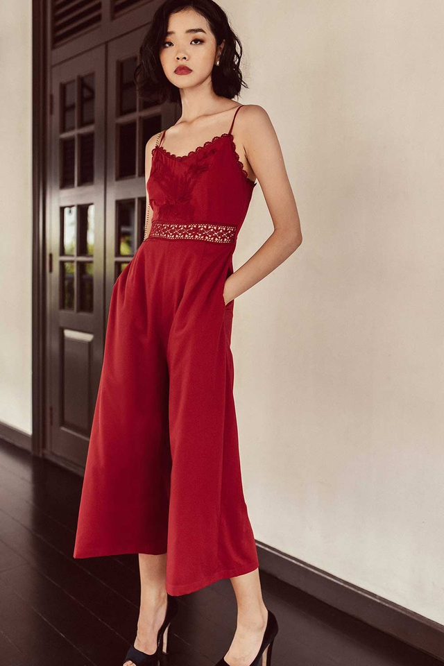 PASCALE APPLIQUE JUMPSUIT IN RED
